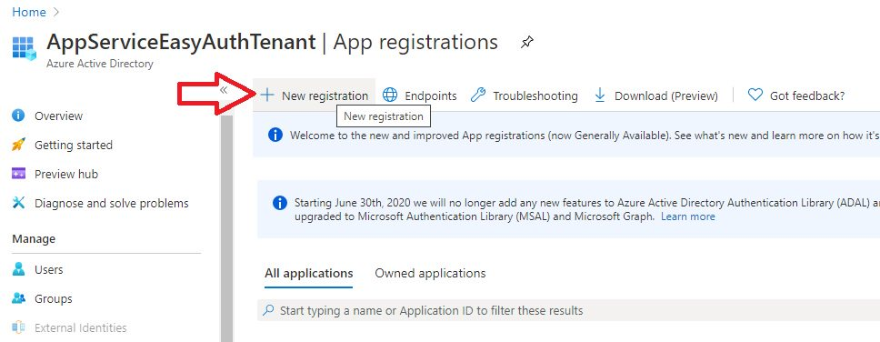 App registration for App Service Easy Auth Step 2